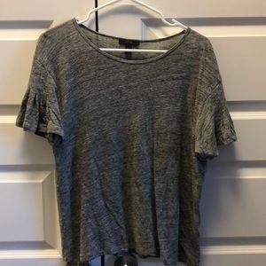Gray Flounce Sleeve T-shirt
